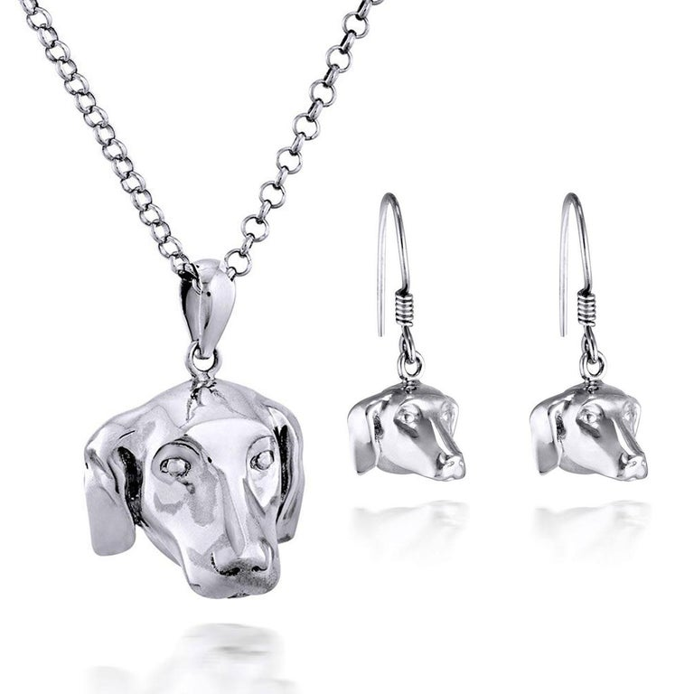 Title: He wanted to be close to her heart (Dogman Pendant), and It was more than just puppy love (Dogman Earrings) Sterling Silver Art Wear Jewellery Set  World Famous Contemporary Artists: Husband and wife team, Gillie and Marc, are New York and