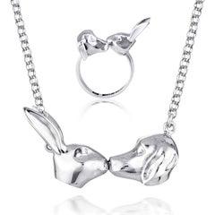 Pop Art - Sculpture - Jewellery - Gillie and Marc - Rabbit Dog Kiss - Silver Set