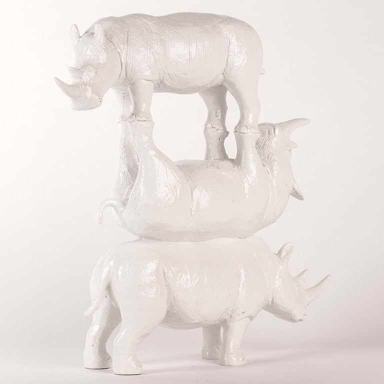 Resin Sculpture - Pop Art - Gillie and Marc - Rhino - Animal - Wildlife - White For Sale 2