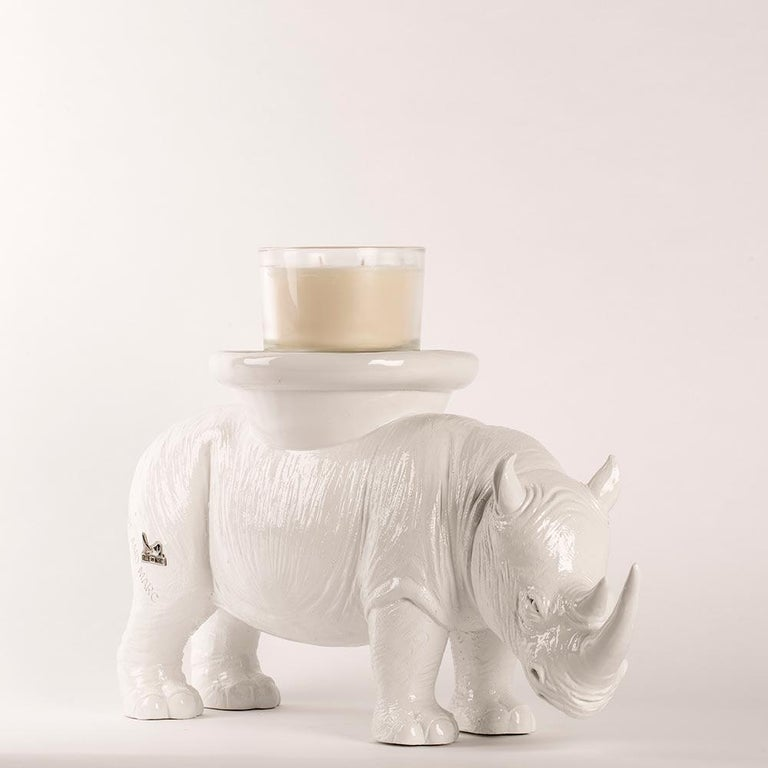 Resin Sculpture - Pop Art - Gillie and Marc - Rhino - Animal - Wildlife - White For Sale 6