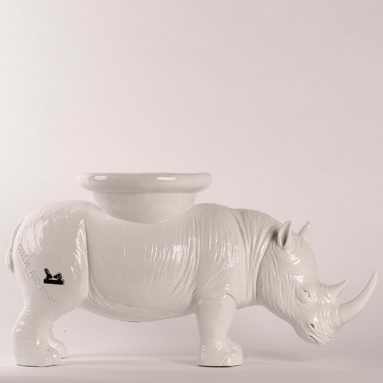 Resin Sculpture - Pop Art - Gillie and Marc - Rhino - Animal - Wildlife - White For Sale 7