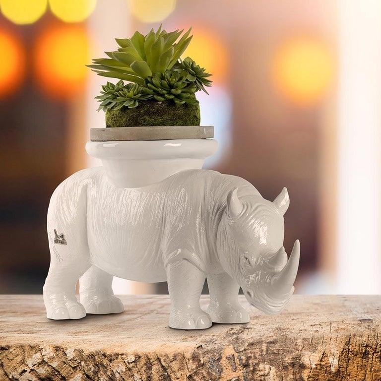 Resin Sculpture - Pop Art - Gillie and Marc - Rhino - Animal - Wildlife - White For Sale 8