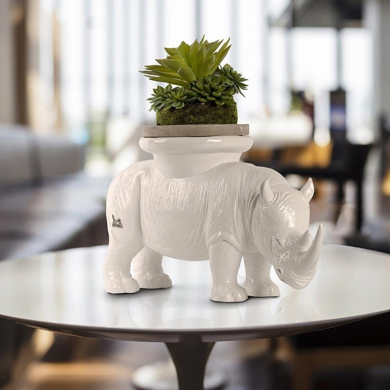 Resin Sculpture - Pop Art - Gillie and Marc - Rhino - Animal - Wildlife - White For Sale 9