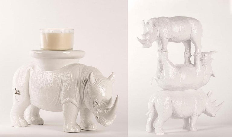 Title: They were on top of the world (Stack of Three Rhinos) 30 x 24 x 9 cm (H*L*W) He carried love on his back wherever he went (Candle/Plant Holder) 24 x 49 x 15 cm (H*L*W) Authentic resin sculpture Open Edition   World Famous Contemporary