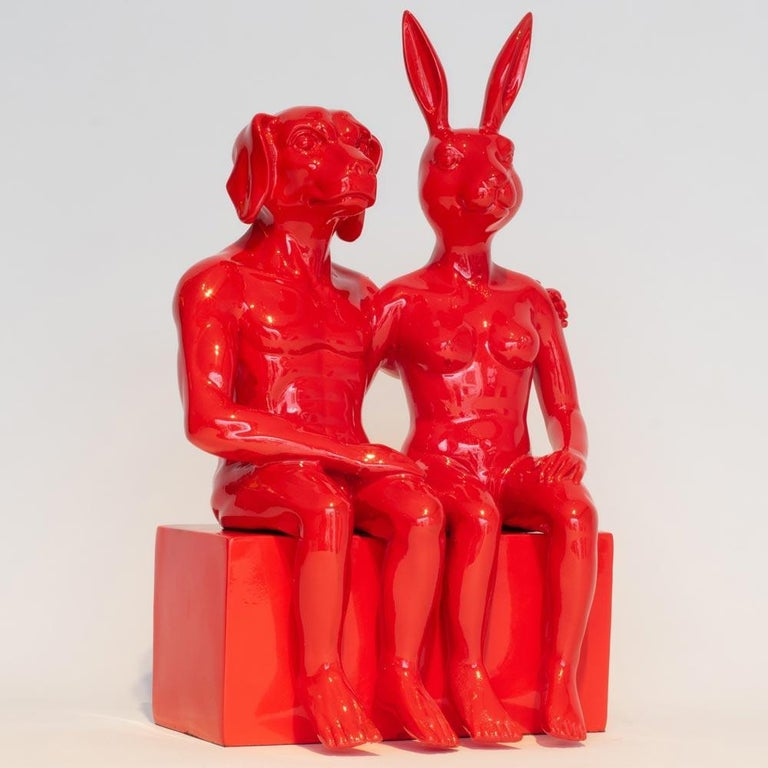 Resin Sculpture - Pop Art - Gillie and Marc - Nude - Dogman - Rabbitgirl - Red For Sale 3