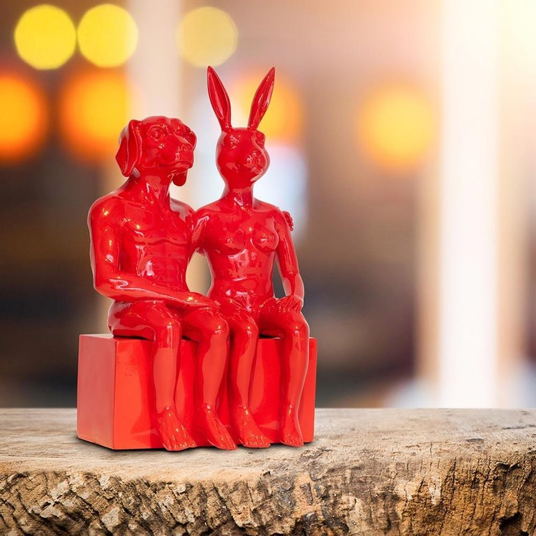 Resin Sculpture - Pop Art - Gillie and Marc - Nude - Dogman - Rabbitgirl - Red For Sale 6