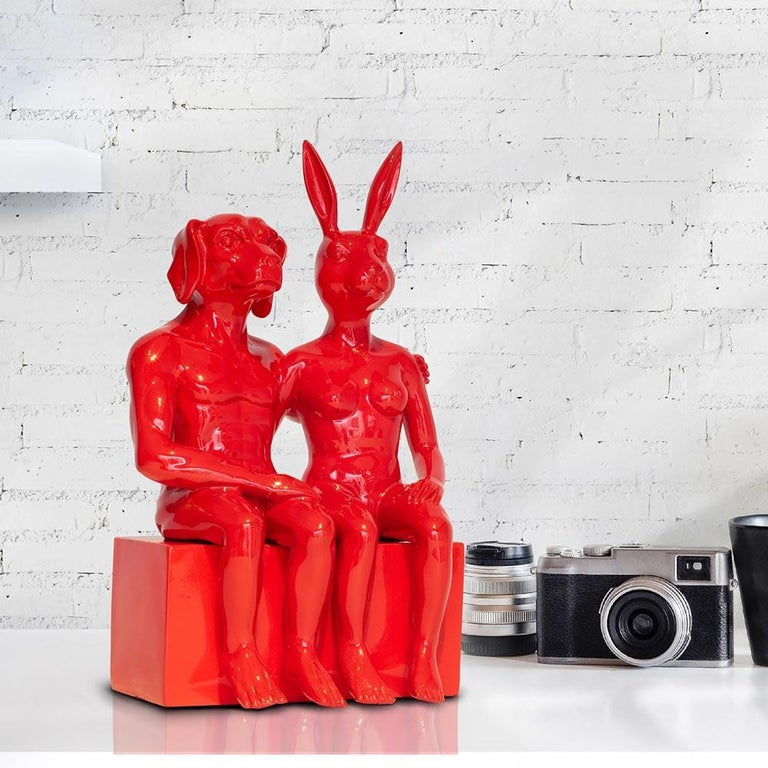 Resin Sculpture - Pop Art - Gillie and Marc - Nude - Dogman - Rabbitgirl - Red For Sale 8