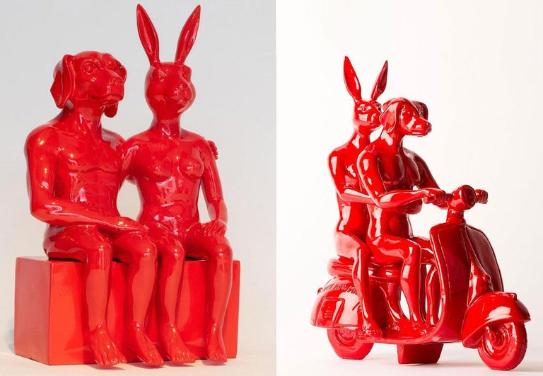 Title: They were a close couple (couple sitting on bench - Red), and The Vespa Lovers (Red) Authentic resin sculpture Open Edition  World Famous Contemporary Artists: Husband and wife team, Gillie and Marc, are New York and Sydney-based contemporary