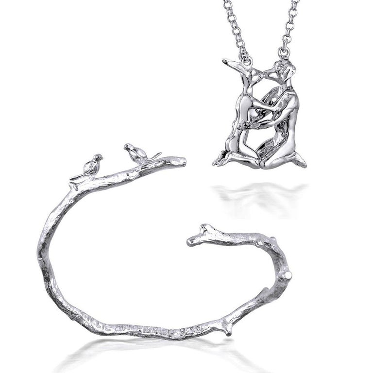 Title: She was his last first kiss (Rabbit and Dog Kissing Pendant), and She wanted to fly away with him (Lovebird Bracelet) Sterling Silver Art Wear Jewellery Set  World Famous Contemporary Artists: Husband and wife team, Gillie and Marc, are New