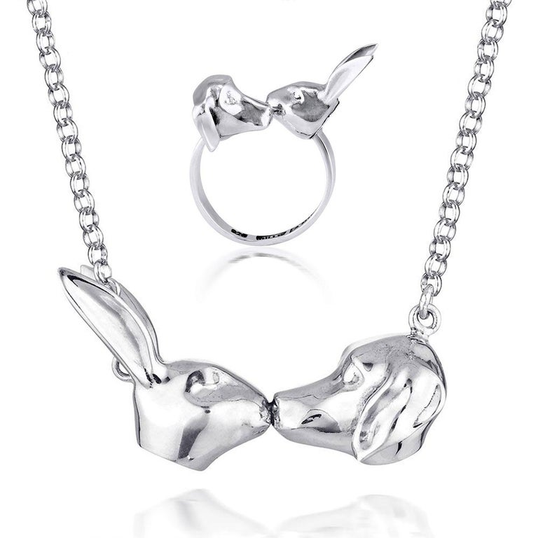 Title: They knew they would love each other forever (Rabbit and Dog Kissing Pendant), and She knew they would be together forever (Adjustable Kissing Ring) Sterling Silver Art Wear Jewellery Set  World Famous Contemporary Artists: Husband and wife