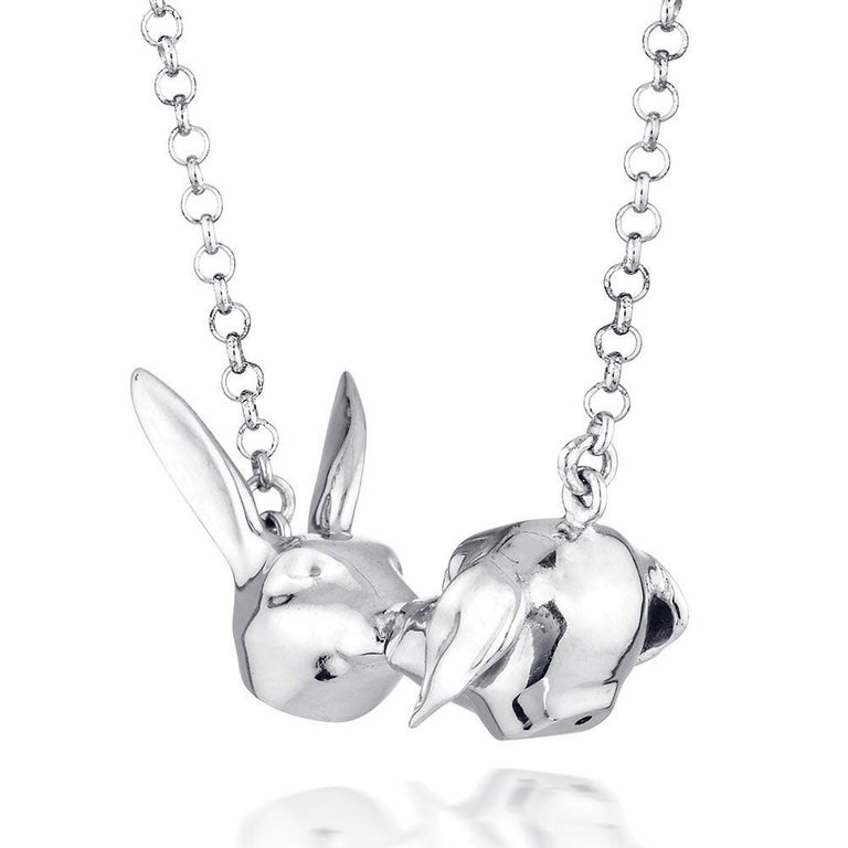 Pop Art - Sculpture - Jewellery - Gillie and Marc - Rabbit Dog Kiss - Silver Set For Sale 8