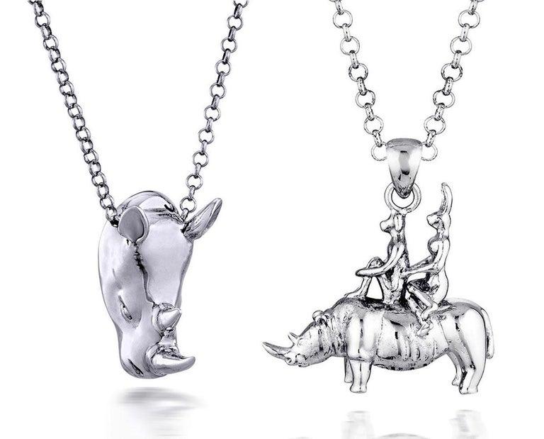 Gillie and Marc Schattner Figurative Sculpture - Pop Art - Sculpture - Jewellery - Gillie and Marc - Love - Rhino - Silver Set