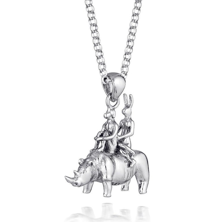 Pop Art - Sculpture - Jewellery - Gillie and Marc - Love - Rhino - Silver Set For Sale 10