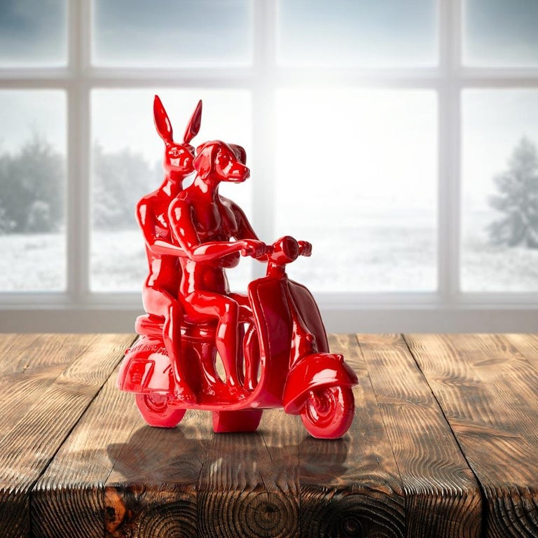 Resin Sculpture - Pop Art - Gillie and Marc - Nude - Dogman - Rabbitgirl - Red For Sale 2