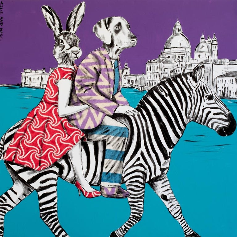 Title: They had a party of a lifetime in Venice Limited edition Print  Gillie and Marc's paintings are signed, limited-editions and are produced on Entrada Rag Bright 300gsm, 100% acid free, 100% cotton rag paper, with a 40mm white border.