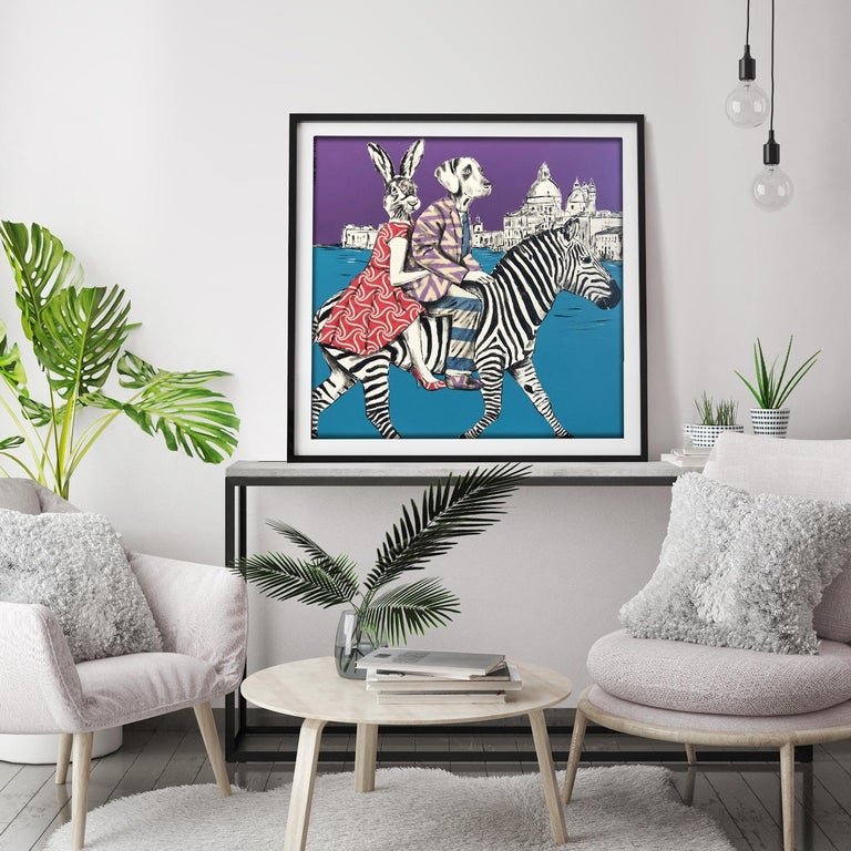 Painting Print - Gillie and Marc - Art - Limited Edition - Zebra - Love - Travel For Sale 2
