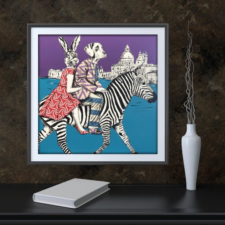 Painting Print - Gillie and Marc - Art - Limited Edition - Zebra - Love - Travel For Sale 3