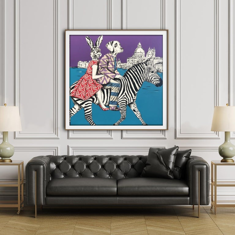Painting Print - Gillie and Marc - Art - Limited Edition - Zebra - Love - Travel For Sale 5