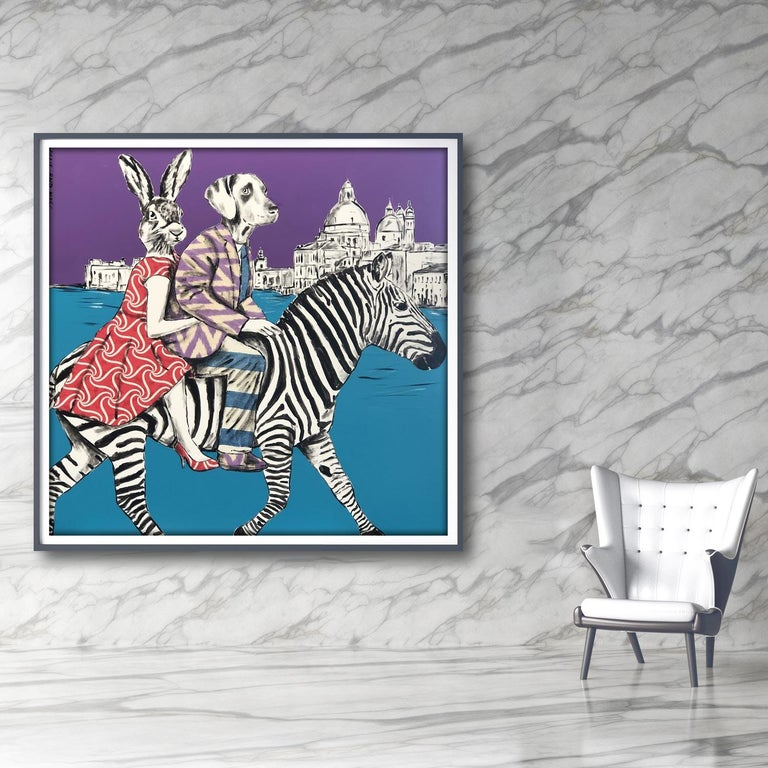 Painting Print - Gillie and Marc - Art - Limited Edition - Zebra - Love - Travel For Sale 6
