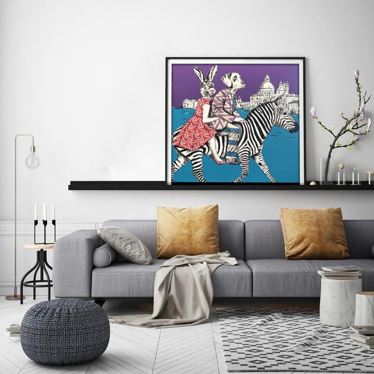 Painting Print - Gillie and Marc - Art - Limited Edition - Zebra - Love - Travel For Sale 7