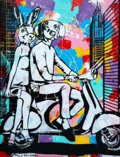 Painting Print - Gillie and Marc - Art - Limited Edition - Vespa Travel Together