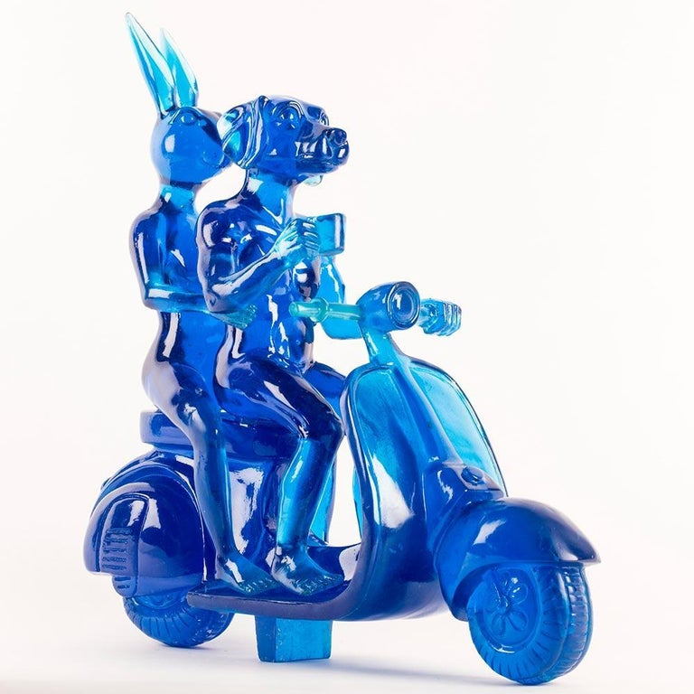 Title: Lolly Vespa Riders (Blue) Authentic resin sculpture Open Edition  The Lolly Vespa Riders combine Gillie and Marc's most iconic art theme, with a style that they're affectionately known for. The artists Lolly Collection, or Lollies as their