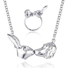 Pop Art - Sculpture - Jewellery - Gillie and Marc - Rabbit Dog Kiss - Silver Set