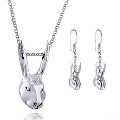 Pop Art - Sculpture - Jewellery - Gillie and Marc - Rabbit - Woman - Silver Set