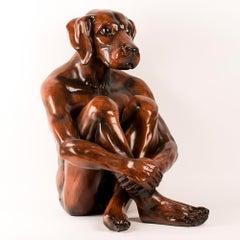 Pop Art - Sculpture - Art - Fibreglass - Gillie and Marc - Dogman - Wood Finish