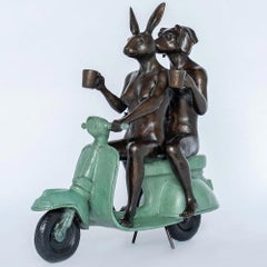 Bronze Sculpture - Gillie and Marc - Limited Edition - Vespa Art - Green Patina