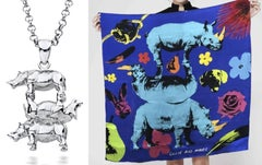 Pop Art - Sculpture - Silver Jewellery - Silk Scarf- Gillie and Marc - Rhino Set