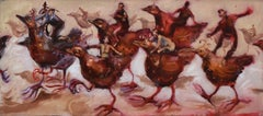 The Bird Race by Nicola Bealing- Oil Paint, Figurative Painting, 21st Century