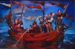 Red Flag Boat by Nicola Bealing- Oil Paint, Figurative Painting, 21st Century