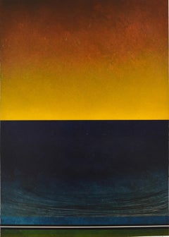 Untitled Blue and Yellow by Richard Adams- Oil Paint, Abstract Painting, 21 Cent