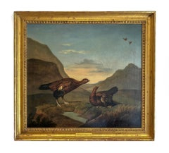 Pair of Grouses - Animal Painting Oil on Canvas, Late 18th Century