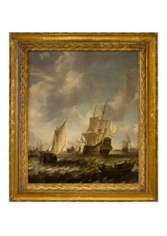 Shipping at Sea off Dordrecht - Marine Painting Oil on Panel, 17th Century