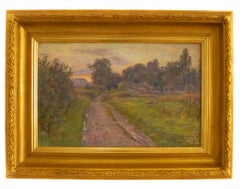 Late Afternoon in the Country - Landscape Pastel on Paper, 20th Century
