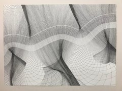 Fluidity 2 pen on paper, black and white drawing, optical illusion artwork