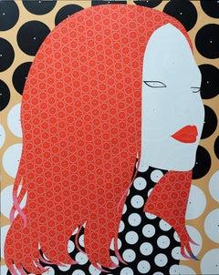 Vigorous - Contemporary, Woman Portrait , Acrylic Paint, Pop Art, Red, Vibrant