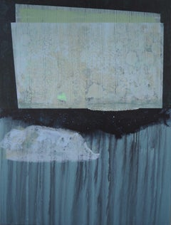 Where the sky hang  : contemporary, abstract art, acrylic paint, threads, grey