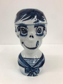 Smiling skull 8 - Contemporary, whimsical Japanese, blue and white porcelain