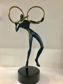The Ring : figurative dancing bronze standing sculpture blue and golden patina