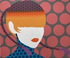 Safari - Contemporary, woman portrait, acrylic, dot, pop art, orange, pink, grey
