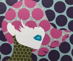 Bavana: Contemporary, woman face, acrylic, dot painting, pop art, pink, blue lip