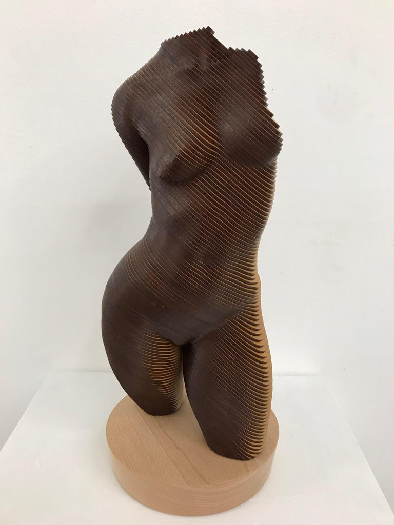 Rosie..Contemporary wood sculpture, classical nude female torso, Topology idea For Sale 2