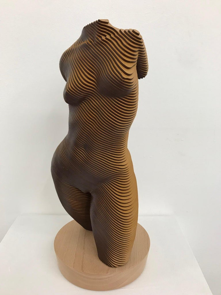 Olivier Duhamel Nude Sculpture - Rosie..Contemporary wood sculpture, classical nude female torso, Topology idea