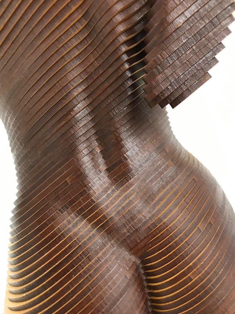 Rosie..Contemporary wood sculpture, classical nude female torso, Topology idea For Sale 3