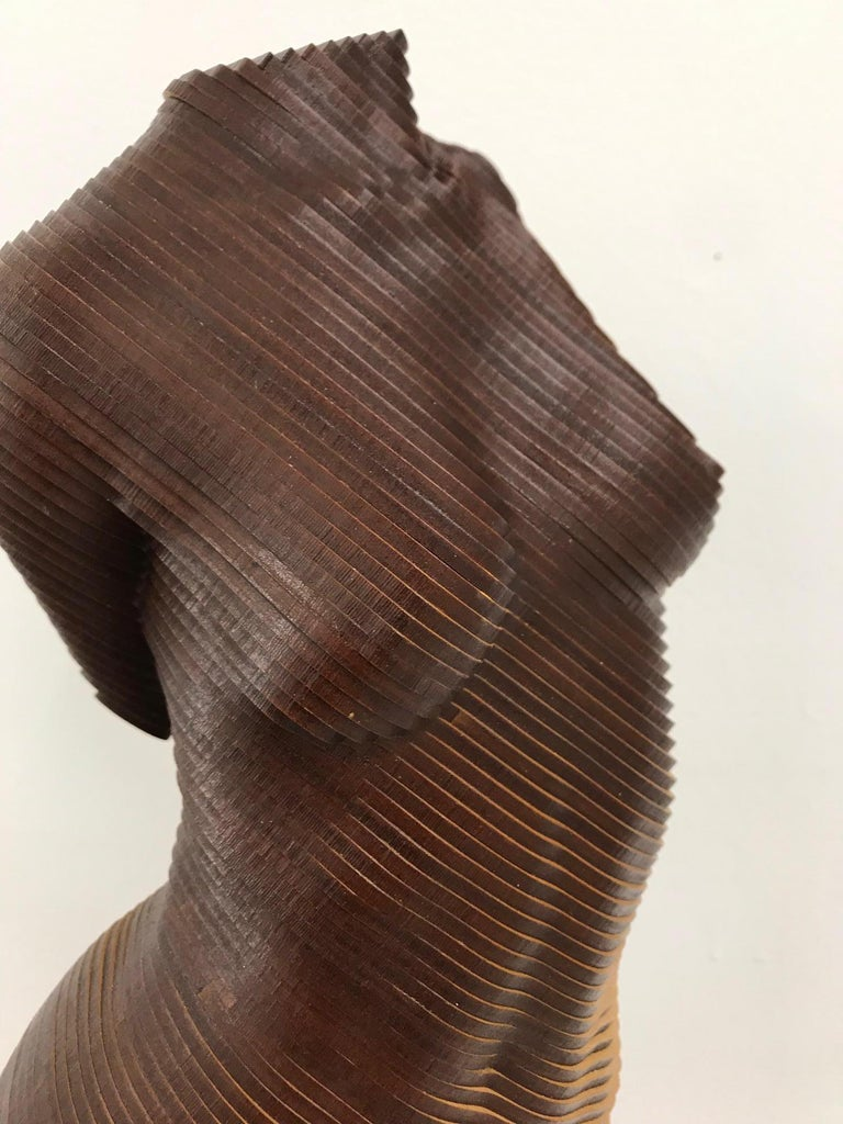 Rosie..Contemporary wood sculpture, classical nude female torso, Topology idea For Sale 7