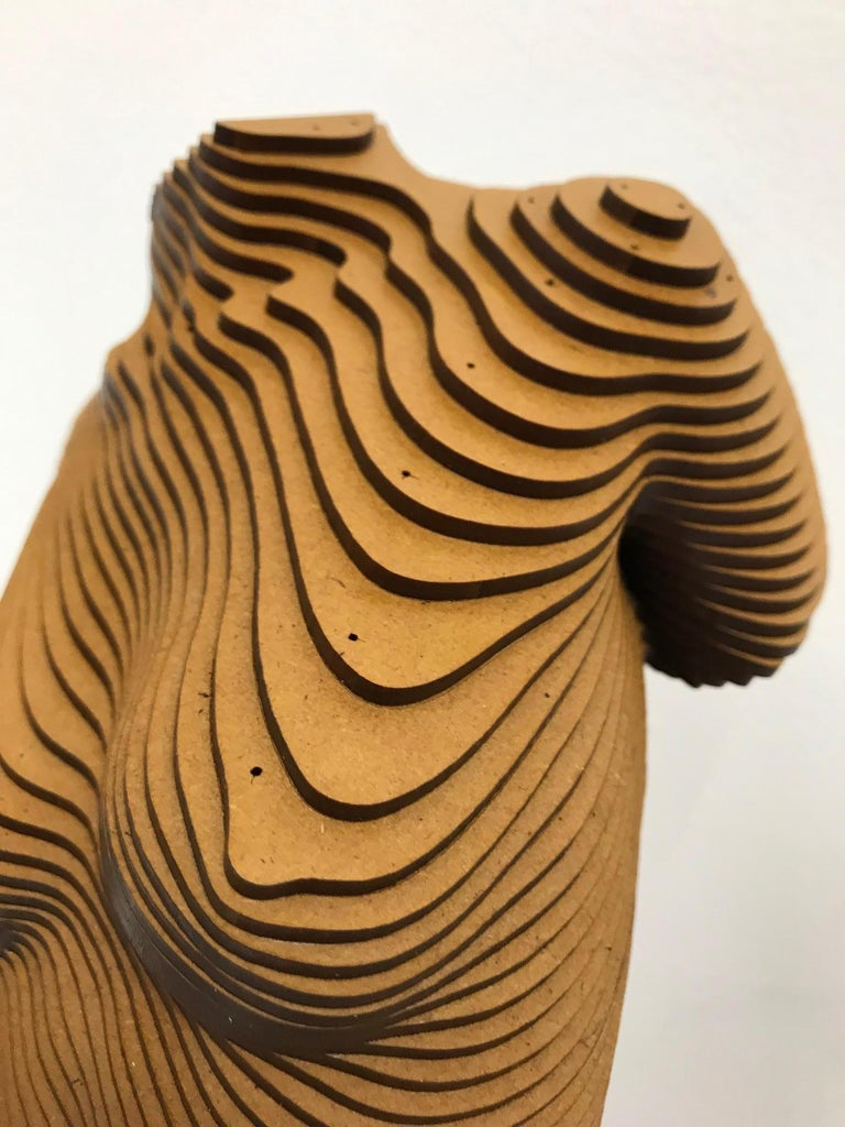 Rosie..Contemporary wood sculpture, classical nude female torso, Topology idea For Sale 10