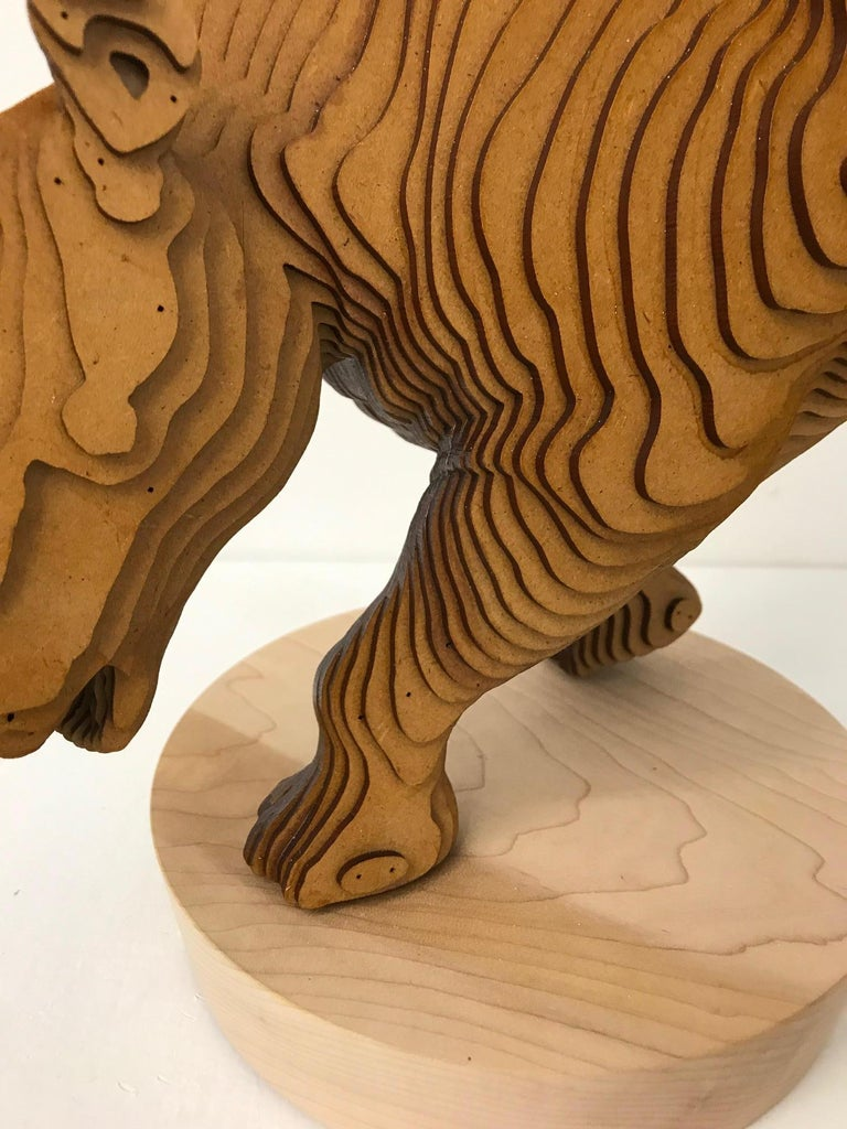 Ballerhino..Contemporary whimsical animal sculpture, wood slices, dancing rhino For Sale 1